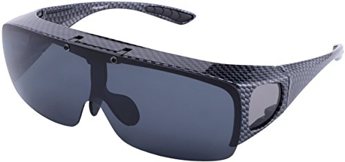 TINHAO Mens Polarized Flip Up Fitover Sunglasses with Mirrored Lenses (Carbon Fiber Texture, black)