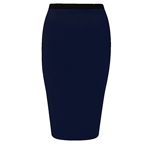 Bleu Bleu marine Taille 36C50 Jersey Funky moulante longue crayon mi Stretch en Boutique Jupe jupe bureau xwqZpP6O