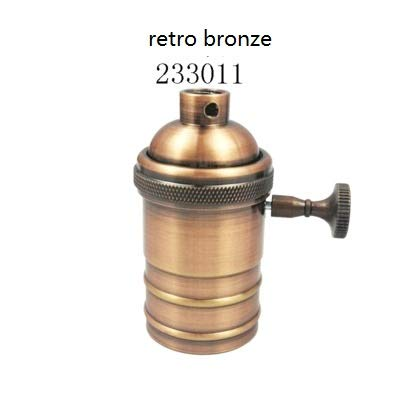 Lamp Base - E27 Vintage Lamp Holder Copper Light Socket Bulb Light Fixture knob Switch Screw Retro Base Lampada Lighting Pendant Fittings - (Color: red bronze, Base Type: 1pcs)