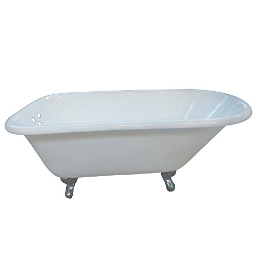 KINGSTON BRASS VCT3D543019NT1 54-Inch Cast Iron Roll Top Claw Foot Tub with 3-3/8-Inch Tub Wall Drillings and Chrome Feet, White