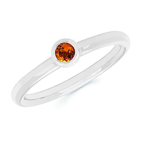 14K White Gold Round Genuine Citrine November Birthstone Bezel-Set Stackable Solitaire Ring, Size 8