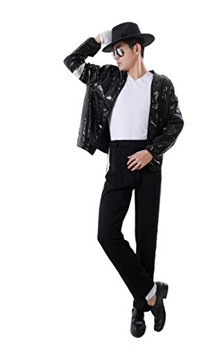 CIGUO Adult Child MJ Michael Jackson Jackets Billie Jean Jacket Suit Dance Cosplay Jackson Costume Set Full Size Kid ()