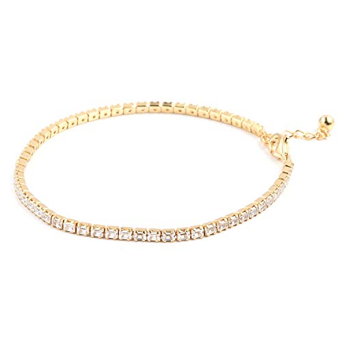 925 Sterling Silver 14K Yellow Gold Plated Baguette Tennis Bracelet for Women 8