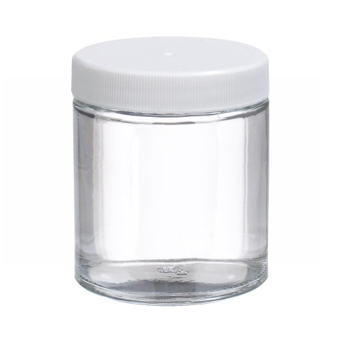 Wheaton W216904 Clear Glass 4oz Straight Sided Jar, with 58-400 White Polypropylene Poly-Vinyl Lined Screw Cap (Case of 24) (Polypropylene Jars)