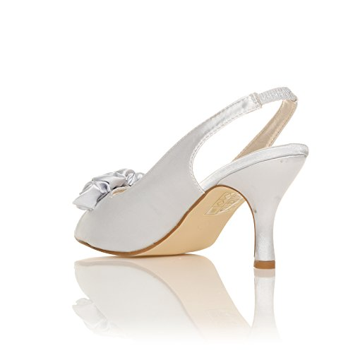 CORE COLLECTION New Womens Ladies Low Heel Bridal Prom Party Bridesmaid Sandal Shoes Size 3-8 Silver LM9dqC