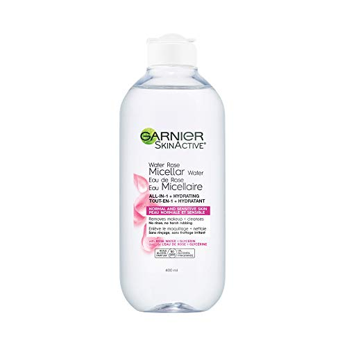 Garnier SkinActive Micellar Cleansing Water with Rose Water and Glycerin, All-in-1 Hydrating, For Normal to Dry Skin, 13…