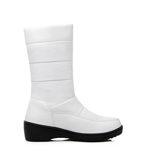 Toe Women's On Pull Soft Material Round Heels Boots Kitten Solid Allhqfashion White Closed AHqxTgaxw