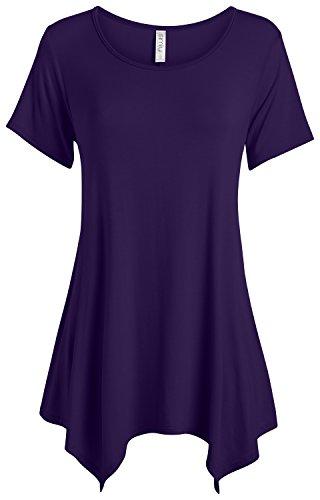 (Simlu Plum Tunic Tops for Women Short Sleeve Flowy Tunic Top,Plum,X-Large)