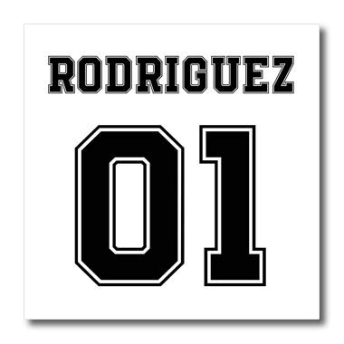 (3dRose Carsten Reisinger - Illustrations - Rodriguez 01 Hispanic Latino Surname Last Name - 8x8 Iron on Heat Transfer for White Material (ht_318844_1))