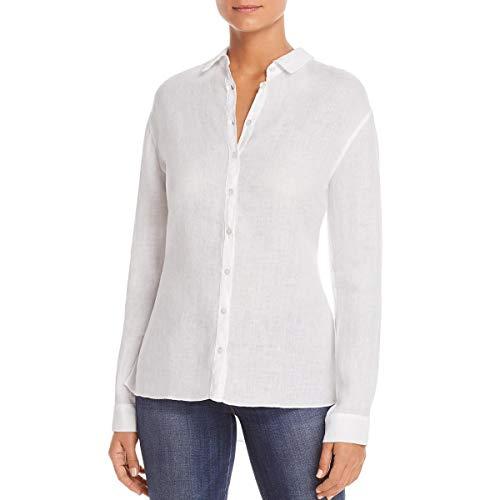 Three Dots Women's lt Weight Linen Loose Long Shirt, White, Large