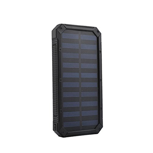 Solar Charger,Livoty 2000mAh Portable Solar Power Bank Waterproof/Shockproof/Dustproof Dual USB Battery Bank for cell phone,iPhone,Samsung,Android phones,Windows phones (Black)