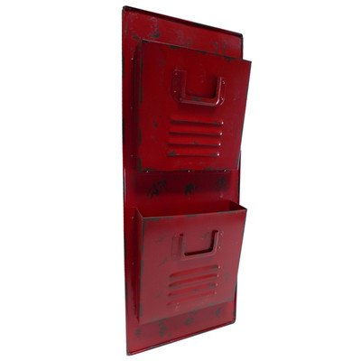Cheung's FP-3198R 2 Tier red metal locker themed mail holder, Red