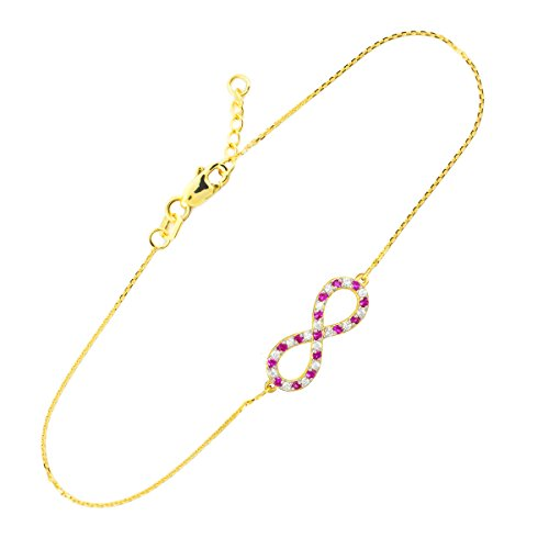Petits Merveilles D'amour - 14 ct Or Diamant and Ruby Infinité Bracelet