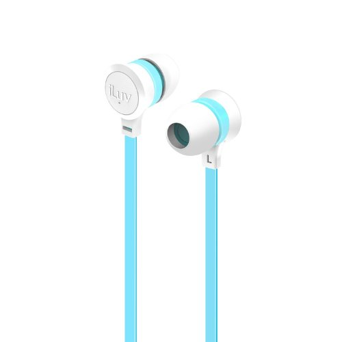iLuv Neon Color Stereo Earphones with Tangle-Resistant Flat Cable, Noise Isolation, Durable Design, and 3 Size Ear Tips for iPhone, iPod, Smartphones, and Tablets, (Ear Isolation Stereo Earphones)
