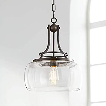 "Charleston 13 1/2"" Wide Clear Glass and Bronze Pendant Light - Franklin Iron Works"