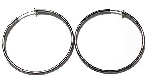 (Clip-on Earrings Gun Metal Silver Tone Hoop Earrings Simple Thin 2.25 inch Hoop)