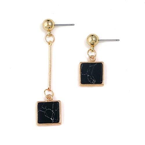 Celendi_Jewelry Crackle Turquoise Asymmetrical Earrings Square Stud Earrings for Women