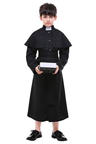 Children's Halloween Medieval Minister Costume Robe Priest Pastor Costume Black Choir Costume -