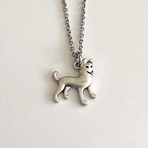 Siberian Husky Dog Necklace - Malamute Dog Pendant on Stainless Steel Chain - Dog Mom Gift 1