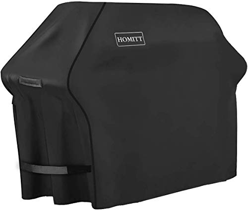 Homitt Gas Grill Cover, 58-inch 3-4 Burner 600D Heavy Duty Waterproof BBQ Cover with Handles and Straps for Most Brands of Grill -Black (Covers Grill Winter)