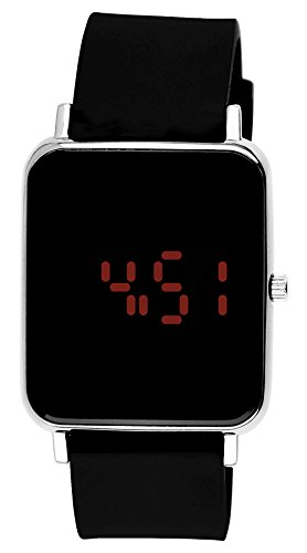 Moulin Unisex Digital One-Touch Silicone Black/Silver Watch #3388.75850