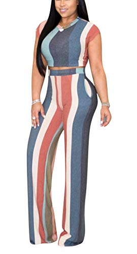 Women's Sexy 2 Piece Outfits - Elegant Slim Stripe Printed Crop Tops + High Waisted Wide Leg Pants Jumpsuits XX-Large Grey ()