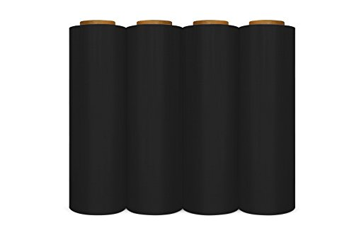 4 Rolls Black Hand Pallet Wrap Plastic Stretch Film 18