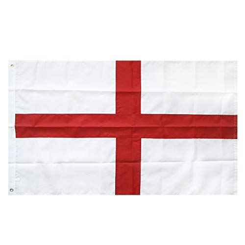 Lixure England Flag 3x5FT St George Flag Nylon-Embroidered Pattern Sewn Stripes-4 Rows Lock Stitching Flags Brass Grommets 210D Nylon Banner ()