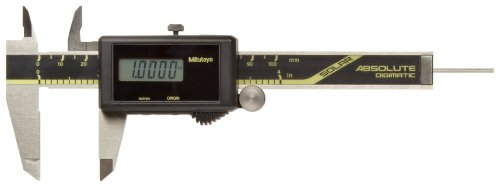 Mitutoyo 500-463 Absolute Digital Caliper, Stainless Steel, Solar Powered, Inch/Metric, 0-4