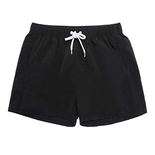 ZaYang Mens Short Solid Swim Trunks Bathing Suits Quick Dry Beach Board Shorts with Mesh Lining (Black, Tag M (Fit Waist : 30-31
