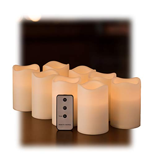 Set of 8 Outdoor 3x4 Waterproof Flickering Resin Candles with Timer and Remote and C Batteries Included (Outdoor Candles Battery)