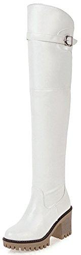 Aisun Damen Kunstleder Plateau Blockabsatz Riemchen Schnalle Reißverschluss Overknee Schaftstiefel Weiß