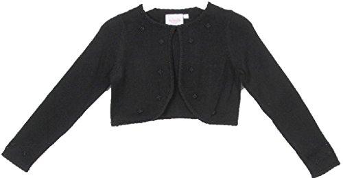 BNY Corner Flower Girl Sweater with Pearl Embellishments for Little Girl Black M CC3010
