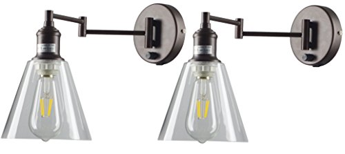 BTExpert 5076-2 Industrial Glass Wall Light Sconce Vintage Clear Hallway Lobby Rustic Swing Arm, Set of 2, Bronze -