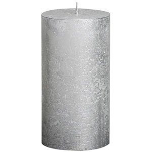 Amazon Com Elegant Silver Metallic Rustic Pillar Candle