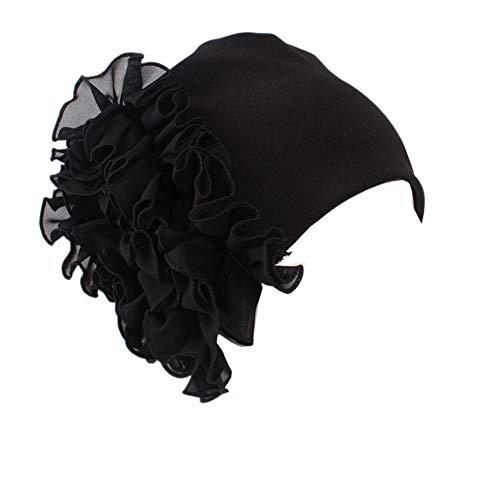 Helisopus Women's Strench Side Flower Pleated Muslim Headband Scarf Beanie Turban Chemo Cancer Cap Hat Black