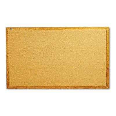 Classic Cork Bulletin Board, 60 x 36, Oak Finish Frame, Sold as 1 Each by Quartet