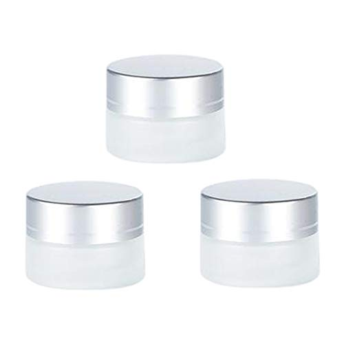 3PCS 5ML 0.2OZ Empty Frosted Glass Cream Bottles with Silvery Aluminum Lid and Inner Cover Face Cream Lotion Moisturizer Storage Holder Refillable Makeup Case Cosmetic Container Jar Box Vials Pot