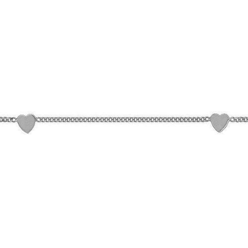 So Chic Bijoux © Chaîne de Cheville Femme 25 cm - Or Blanc 375/000 (9 carats) 1,30gr - Maille Forçat - 5 Coeurs 4 x 3mm