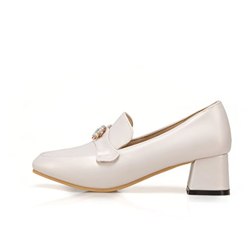 Show Shine Womens Crystals Slide Chunky Heel Pumps Loafers Shoes White qBZjxx