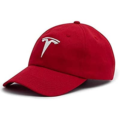JDclubs Tesla Logo Embroidered Adjustable Baseball Caps for Men and Women Hat Travel Cap Car Racing Motor Hat (red+White): Automotive [5Bkhe1010157]