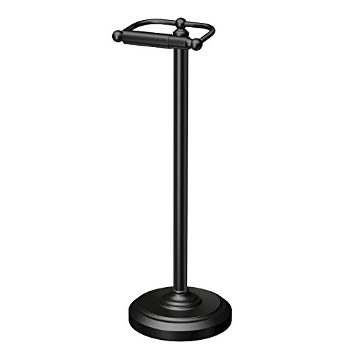Gatco 1436MX Free Standing Toilet Paper Holder, Matte Black ()