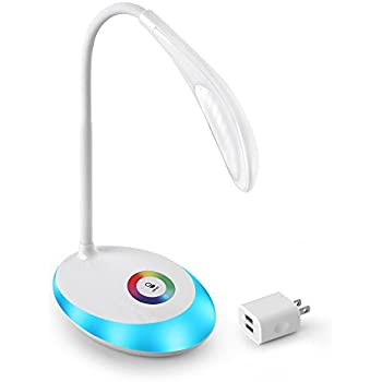 TR-Life 256 Colors LED Desk Lamp,3 Level Brightness Adjustable,Colors Changing Base,Touch Control,USB Rechargeable 2 Port 5V/2A Power Adapter,White
