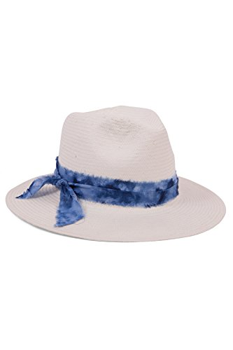 ale by Alessandra Women's Luca Panama Sunhat Packable, Adjustable and UPF Rated, Ivory/Blue, One Size
