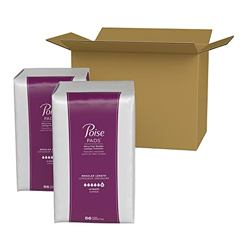 Poise Incontinence Pads for Women, Ultimate Absorbency, Regular Length, 112 Count (2 Packs of 56) (Packaging May Vary)