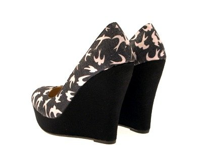 WOMENS CANVAS WEDGES PLATFORM FULL TOE COURT SHOES HEARTS / BIRDS LADIES SIZE 3 - 8 Swallow Black r77lhxisd7