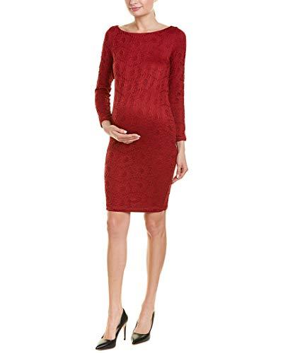 Ingrid & Isabel Women's Maternity Boatneck Lace Dress, Crimson, Large (Jersey Boatneck Dress)