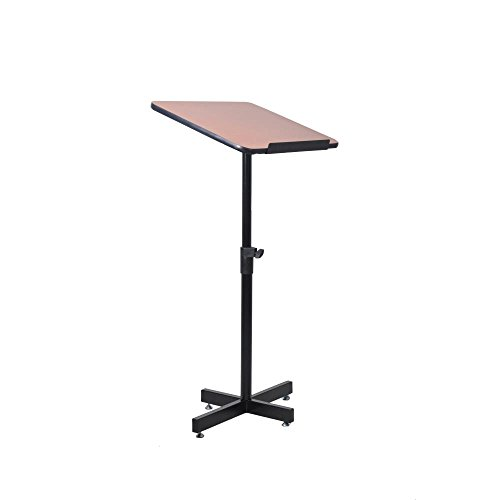 Speaker Stand Lectern (Portable Floor Lectern Podium Stand - Height Adjustable Steady Standing Design Teacher Speaker Lecture Classroom Presentation Stand, Laptop Computer Book Holder w/Slanted Top Shelf - Pyle PLCTND44)