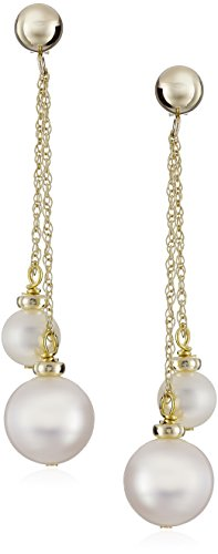 Pearl Rope Earrings (14k Yellow Gold White Cultured Freshwater Pearl Dangle Earrings (5.5-6mm and 9-10mm))