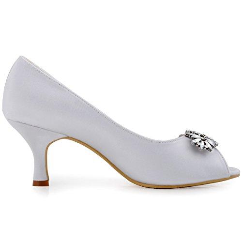 ElegantPark HP1540 Mujer Peep Toe Rhinestones Saten Pupms Mid Tacon Leaves Clips Hebilla boda Novia zapatos? Blanco